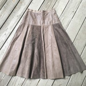 Vintage taupe leather and suede midi circle skirt